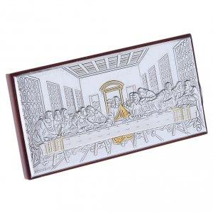 Quadro bilaminato retro legno pregiato Ultima Cena 4,7X9,4 cm s2