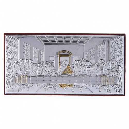 Quadro bilaminato retro legno pregiato Ultima Cena 4,7X9,4 cm s1