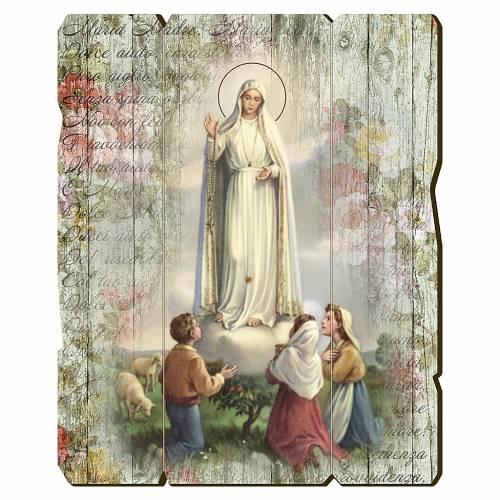 Quadro in Legno Sagomato gancio retro Madonna di Fatima 35x30 s1