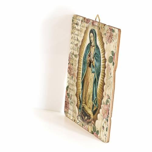 Quadro in Legno Sagomato gancio retro Madonna Guadalupe 35x30 s2