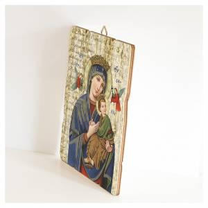 Quadro legno sagomato gancio retro Madonna Perpetuo Soccorso s2