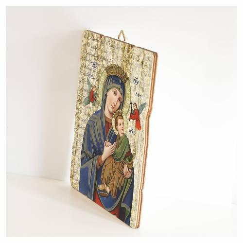 Quadro legno sagomato gancio retro Madonna Perpetuo Soccorso 2
