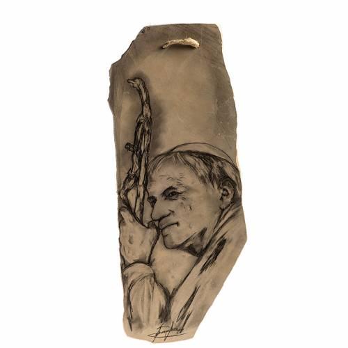 Quadro Papa Giovanni Paolo II su pietra rossa s1