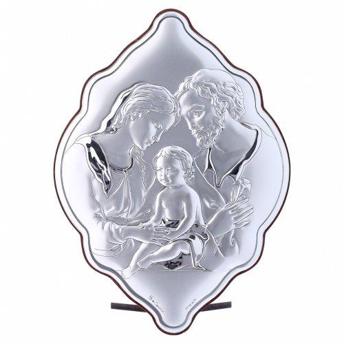 Quadro Sacra Famiglia in bilaminato con retro in legno pregiato 21X14 cm s1