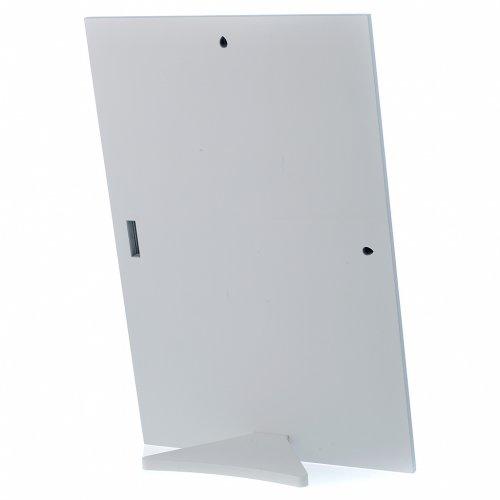 Quadro Sacra Famiglia rettangolare argento tavola bianca s3