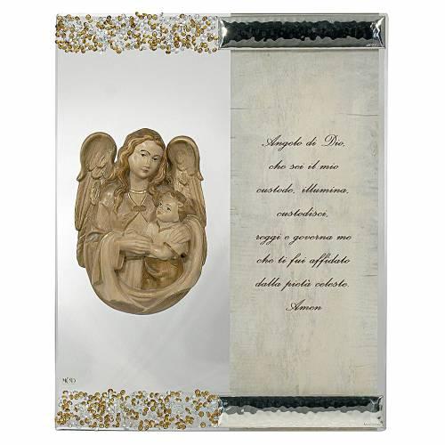 Quadro Scultura Angelo in Argento Cristallo preghiera s1