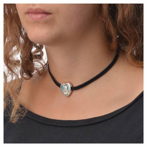 Ras-de-cou cuir noir image Vierge Marie émail bleu clair s3