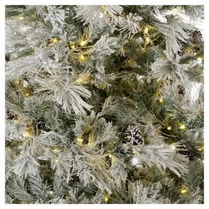 Árbol de Navidad marrón 230 cm escarchado piñas y purpurina 450 luces LED s2