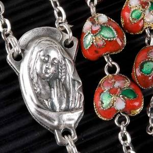 Red cloisonné rosary with heart-shaped beads s2
