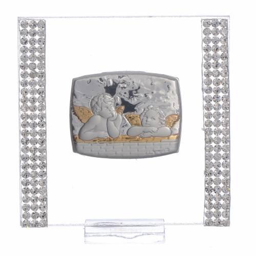 Regalo Bautismo Plata strass Ángel 7x7 cm s1