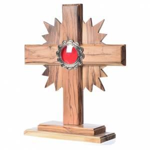 Relicario de olivo, cruz con rayos 20cm, custodia de metal plate s2