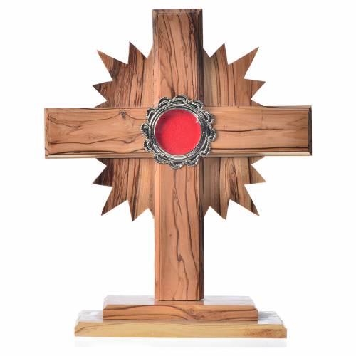 Relicario de olivo, cruz con rayos 20cm, custodia de metal plate s1