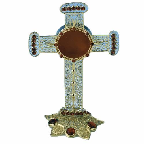 Relicario forma de cruz de plata 800, filigrana 13cm s1