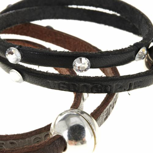 Religious bracelet in leather with sphere and Swarovski s2
