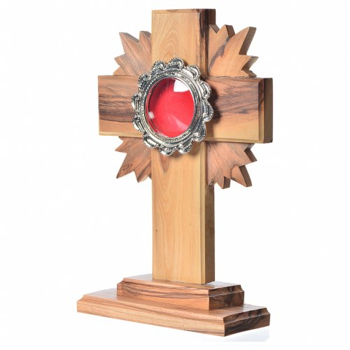 Reliquary in olive wood with rays H15cm, display in silver meta s2