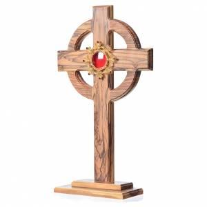 Olivenholz Monstranzen, Custodien, Reliquiaren: Reliquiar 29cm Keltisch Kreuz mit Filigranarbeit Schrein