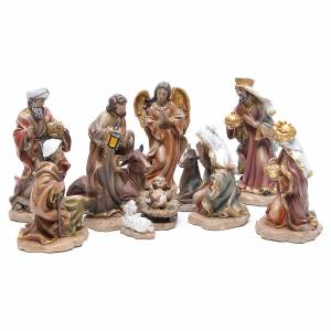 Resin and Fabric nativity scene sets: Resin nativity set measuring 20cm, 11 figurines in Wood-like effect