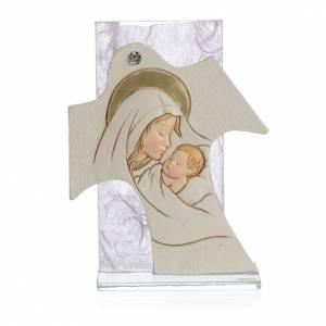 Ricordino Nascita Quadretto Croce Maternità rosa 11,5x8 cm s1