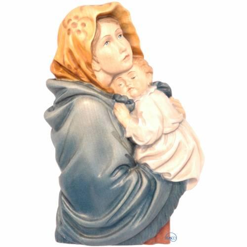 Rilievo Madonna Ferruzzi legno dipinto Valgardena s1