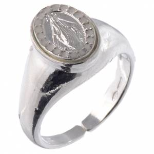 Prayer rings: Ring in 800 silver with Miraculous Medal, white and adjustable