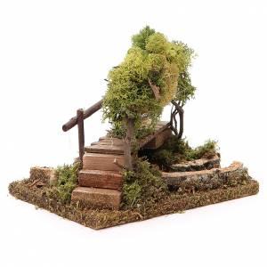 Ponts, ruisseaux, palissades pour crèche: Rivière avec pont et arbres pour crèche