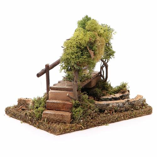 Rivière avec pont et arbres pour crèche s3