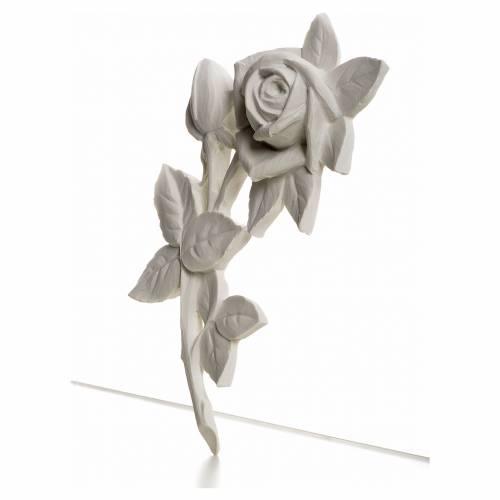 Rosa decoro 21 cm marmo sintetico s2