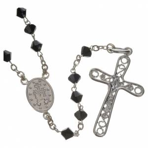 Rosari argento: Rosario Argento Swarovski 5mm nero
