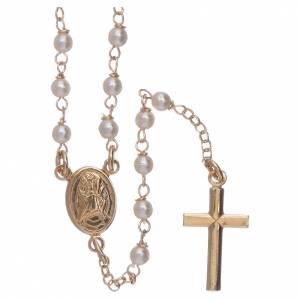 Rosario classico AMEN Giubileo argento 925 dorato e perle Swarovski s1