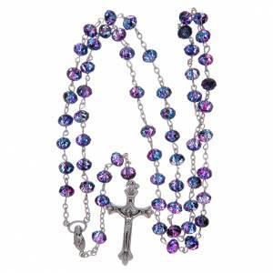 Rosario con cuentas de cristal facetado violeta s4