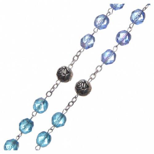 Rosario cristallo sfumature blu crociera parlante ITALIANO 8 mm s3