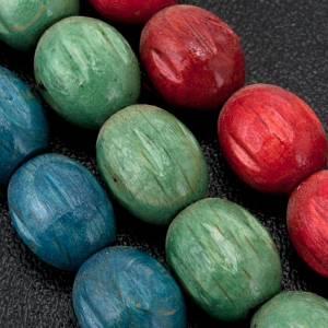 Rosario de madera Medjugorje granos coloreados s2