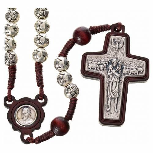 Rosario metallo e legno scuro Papa Francesco s1