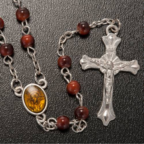 Rosario vetro marrone Padre Pio s2