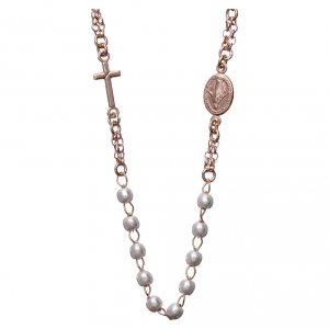 Rosary AMEN Necklace pearls silver 925, Rosè finish s1