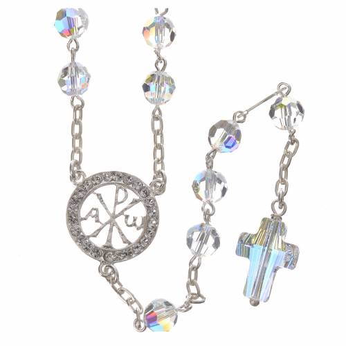 Rosary beads in 800 silver and Swarowski, 6mm Pax symbol medal s1