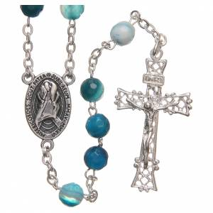 Silver rosaries: STOCK Rosary beads in Brazilian agate and sterling silver with Jubilee symbol 6mm light blue