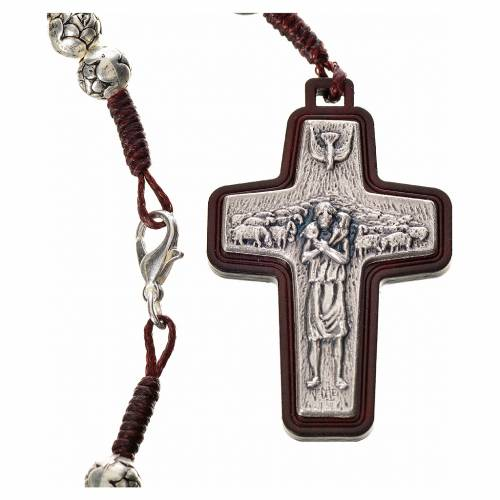 Rosary beads in metal and dark wood, Pope Francis s3