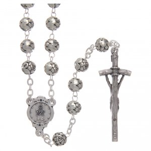 Metal rosaries: Rosary beads in metal with roses and pastoral cross