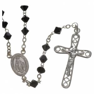 Silver rosaries: Rosary beads in silver and Swarovski 0,2in black