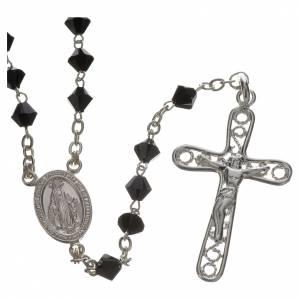 Rosary beads in silver and Swarovski 0,2in black s1