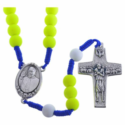 Rosary beads in yellow fimo, Pope Francis s1