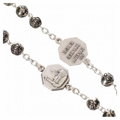 Rosary beads, John Paul II with metal roses s4