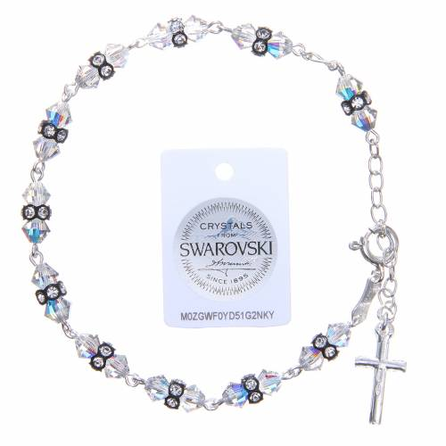 Rosary bracelet with cone shaped black and white Swarowski grains s2