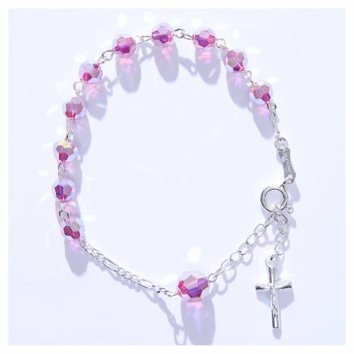 Rosary bracelet with pink Swarowski crystals 6mm s4