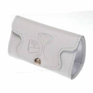Rosary cases: Rosary case in white leather, first holy communion
