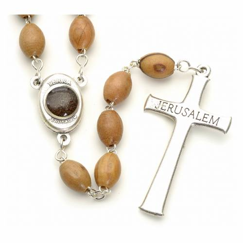 Rosary Holy Land olive wood 7x10mm s2