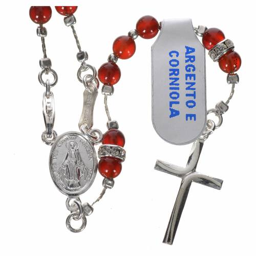 Rosary in 800 silver and carnelian s1