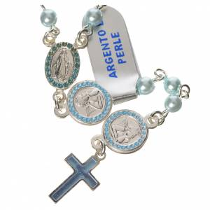 Rosary in 800 silver, light blue pearls and guardian angel s1