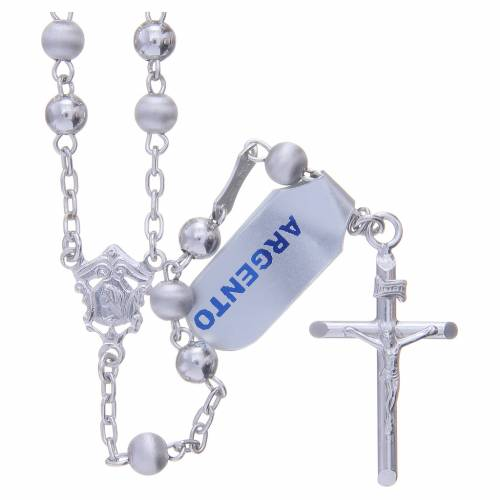 Rosary in 800 silver with 5mm velvety and smooth grains s1